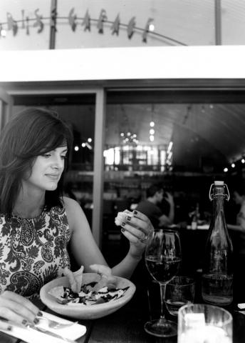 Silvia eating Salt Cod Brandade, Paradise Garage restaurant, Paradise Row, Bethnal Green E2