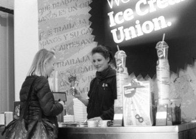 Sara serving cornets, The Ice Cream Union, St James' Road, Bermondsey SE16