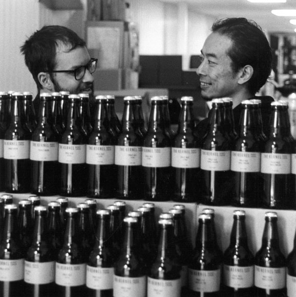 Jonah and Chun behind the bottles, The Kernel Brewery, Dockley Road, Bermondsey SE16