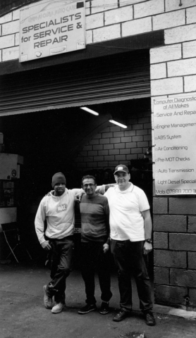 Three workmates, Mickey, Fayyaz and Mohammed at Umm-Al Qura Auto Care, Leabridge Road, Leytonstone E10