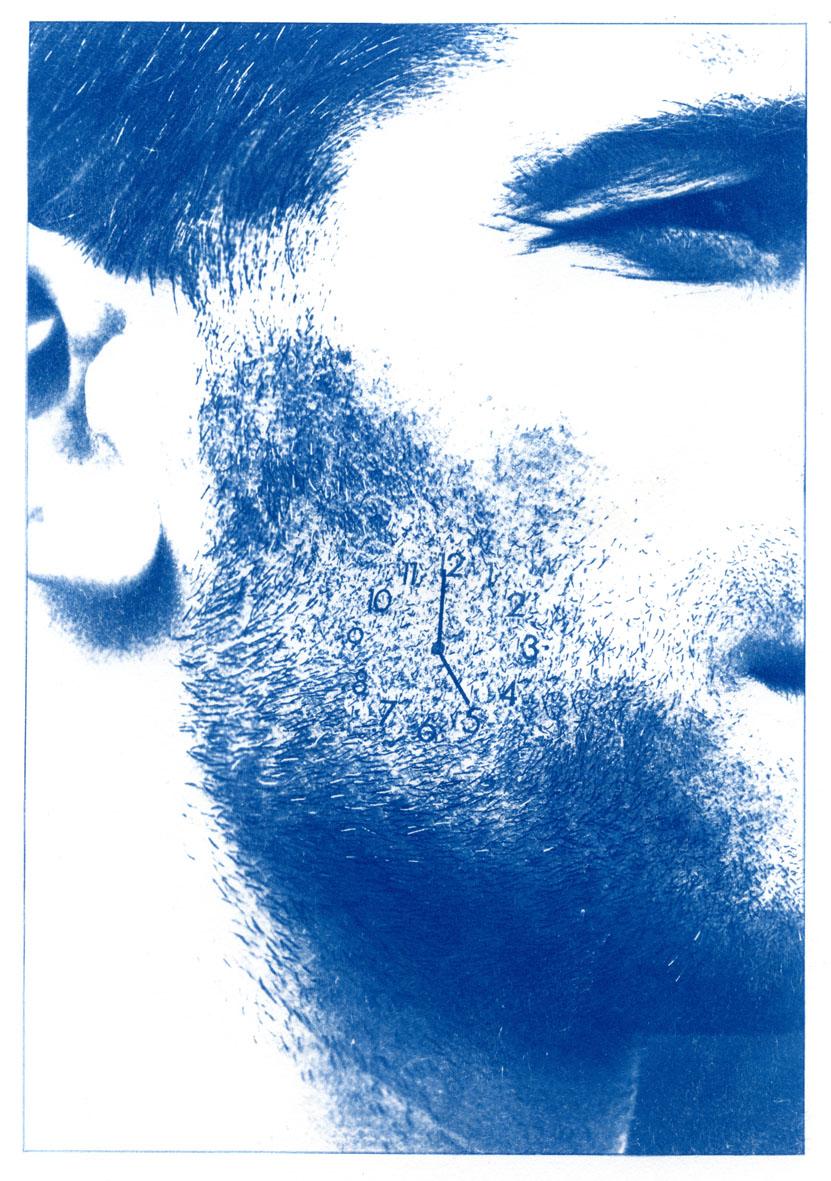 English Idioms: ... unshaven – a five oclock Shadow. (Cyanotype photocomposite)