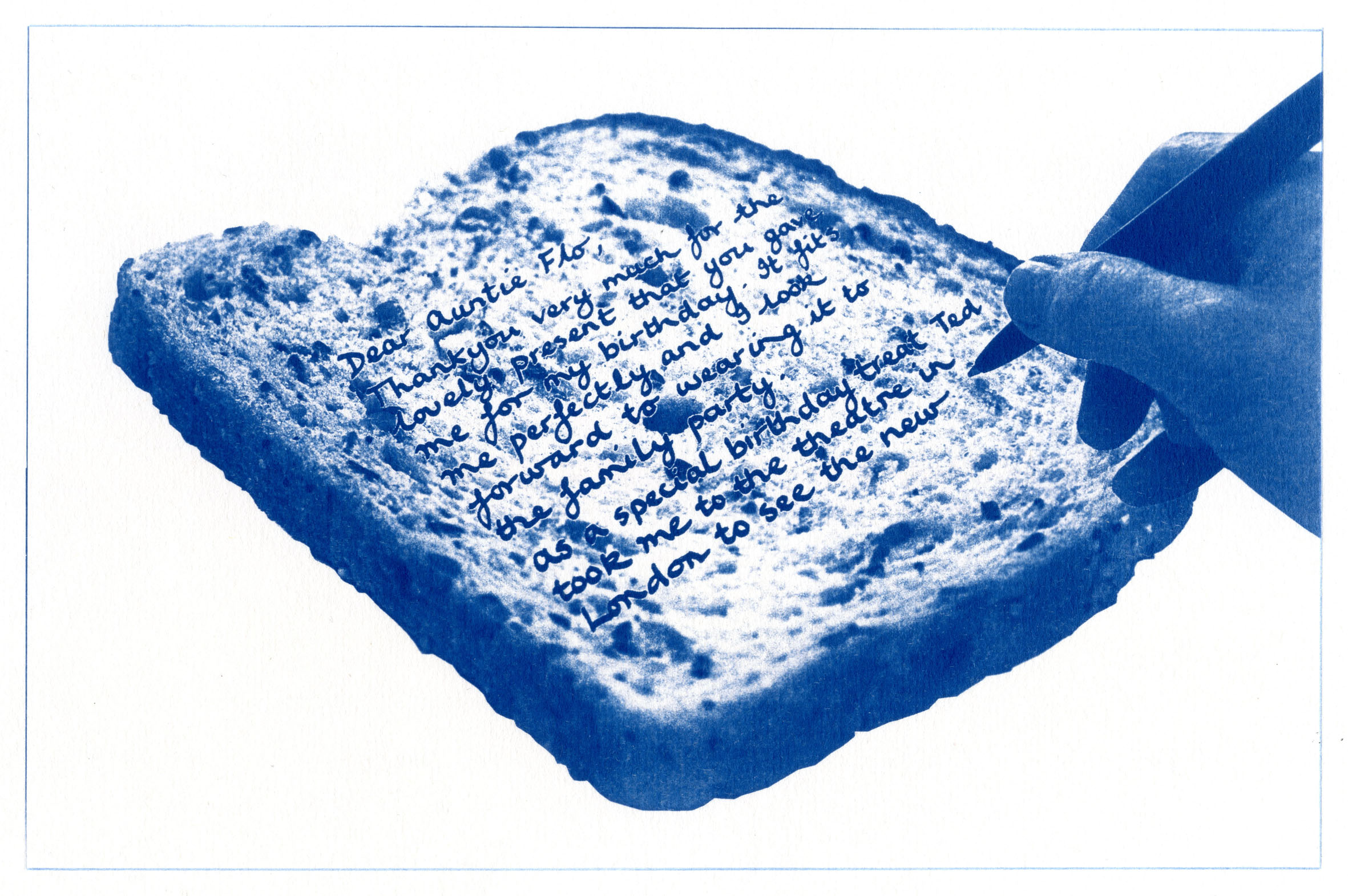 English Idioms: ...write a Bread and Butter Letter (Cyanotype photocomposite)