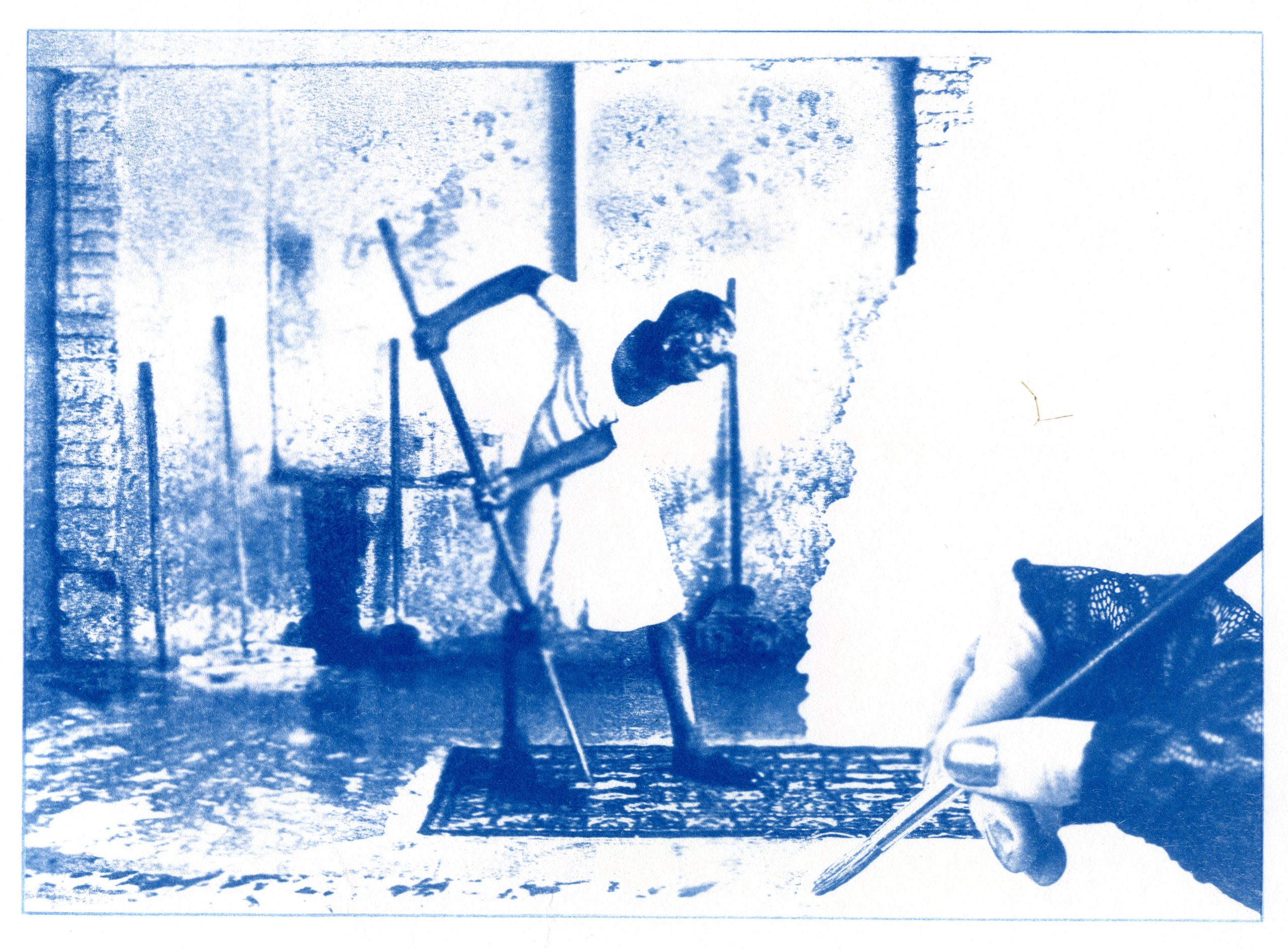 English Idioms: Brush it under the Carpet (Cyanotype photocomposite)
