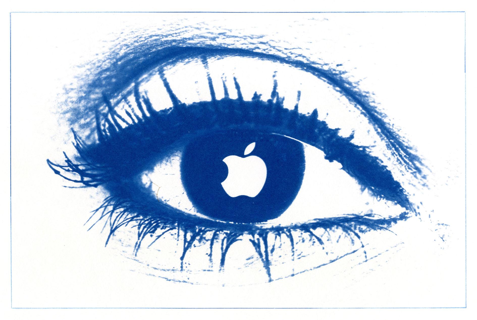English Idioms: the Apple of one's Eye (Cyanotype photocomposite)