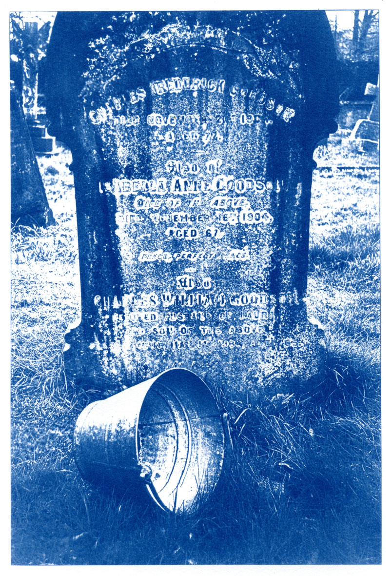 English Idioms: he's Kicked the Bucket (Cyanotype photocomposite)