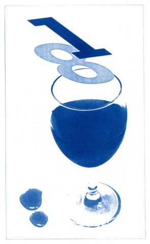 English Idioms: One over the Eight (Cyanotype photocomposite)