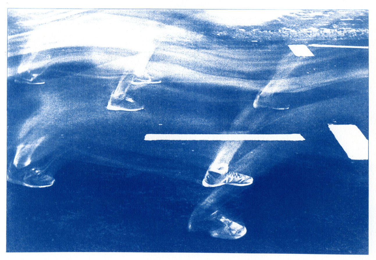 English Idioms: ... simply Rushed off my Feet. (Cyanotype photocomposite)