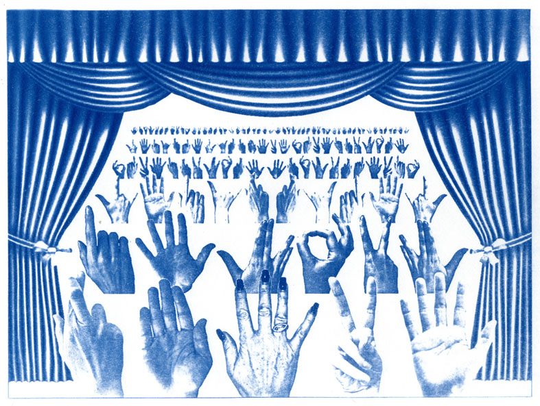 English Idioms: let's have a Show of Hands (Cyanotype photocomposite)