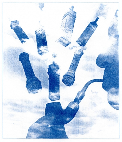 English Idioms: he Smoked like a Chimney (Cyanotype photocomposite)