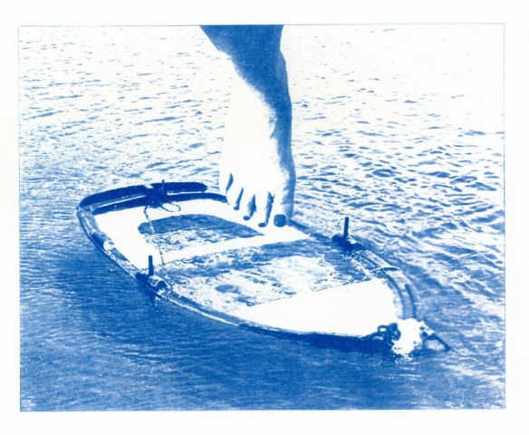 English Idioms: Dip your Toe in the Water (Cyanotype photocomposite)