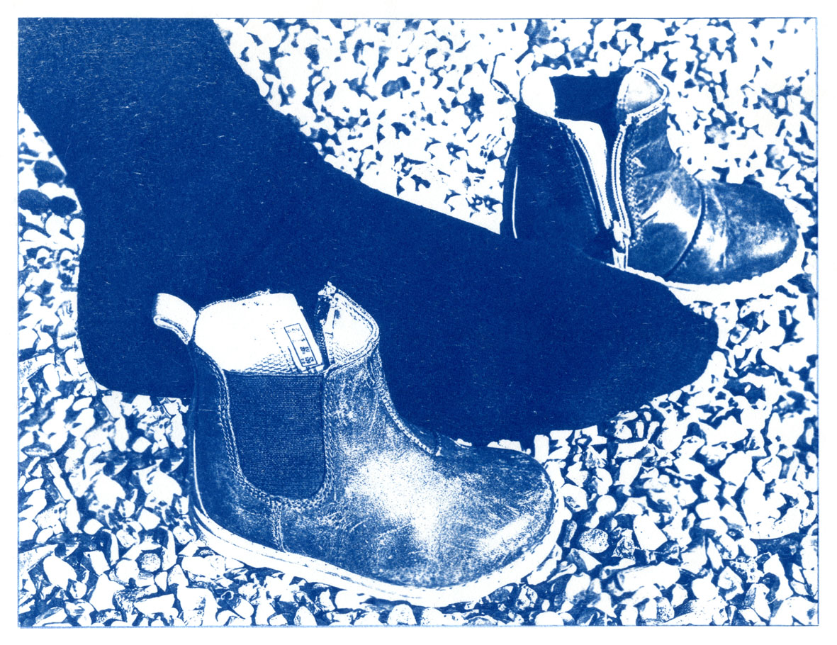 English Idioms: ...too big for his Boots. (Cyanotype photocomposite)
