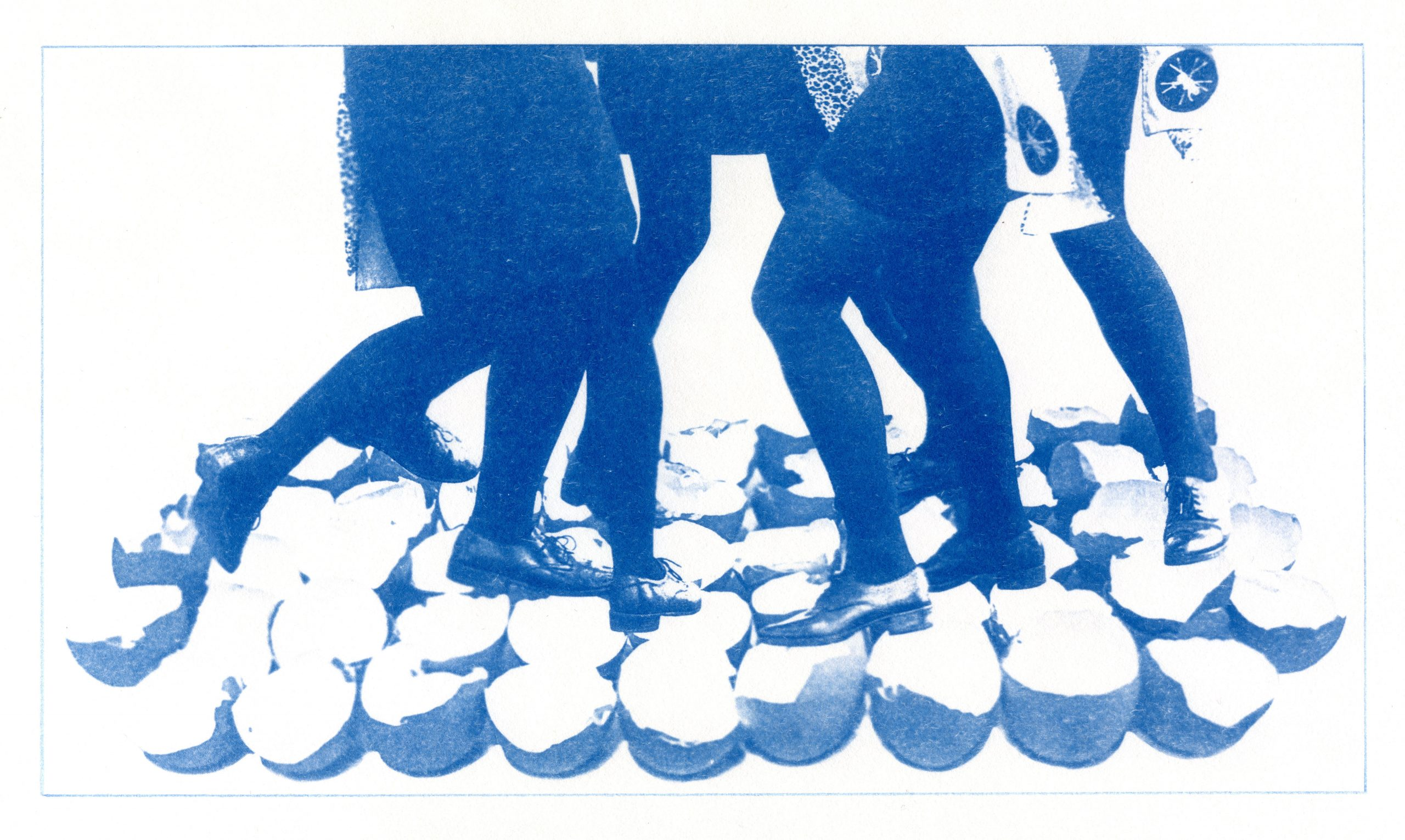 English Idioms: like Treading on Eggshells (Cyanotype photocomposite)