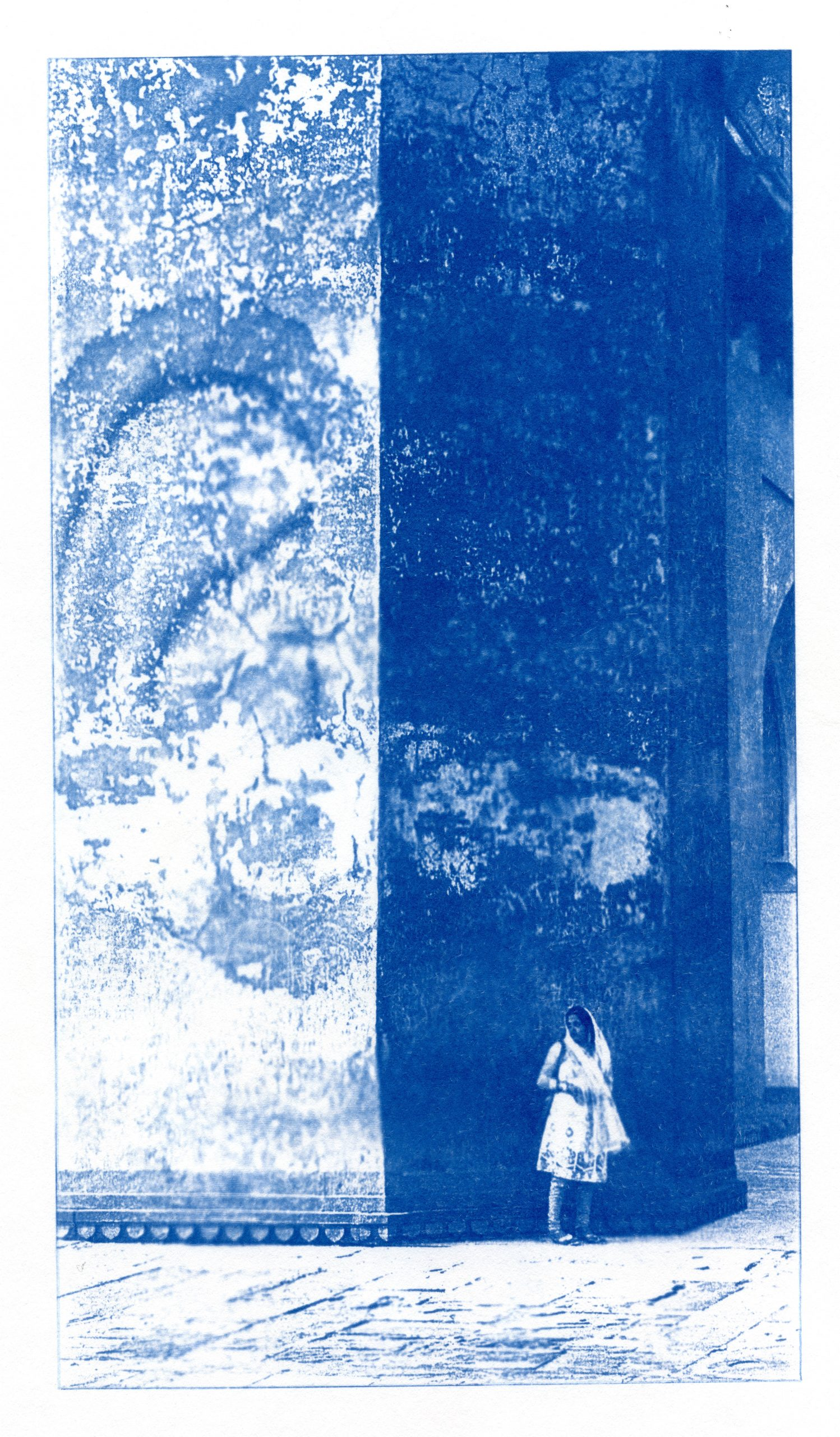 English Idioms: the Walls have Ears (Cyanotype photocomposite)